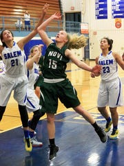 Novi junior guard Ellie Mackay (middle) averaged 17.5 points last season en route to first team All-Area honors.