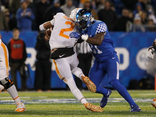 Jamar Watson records a tackle during UK's 2017 game vs. Tennessee.