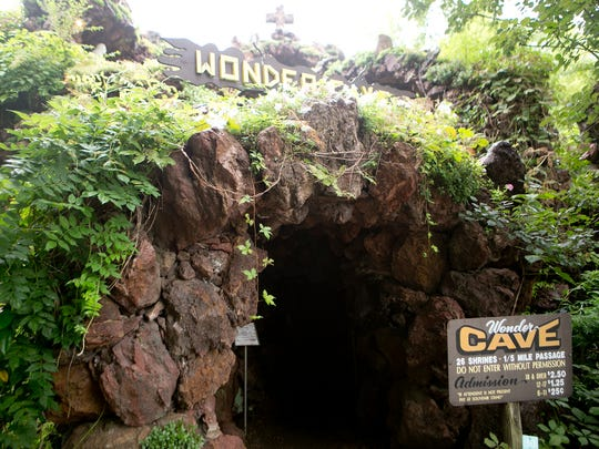 The entrance to the Wonder Cave at Rudolph Grotto Gardens, Monday, Aug. 17, 2015. The Wonder Cave contains 26 shrines.