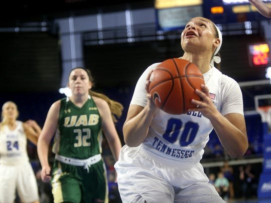 MTSU's Alex Johnson (00) and the Lady Raiders host Morehead State in the WNIT.