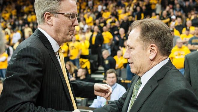 Veteran Michigan State coach Tom Izzo, right, thinks Fran McCaffery, left, has his best team in six years at Iowa.