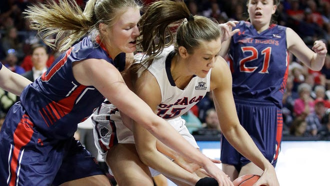 Gonzaga's Jill Barta, center, battles for the ball in the first half Tuesday against Saint Mary's in the West Coast Conference championship game. Gonzaga won, 86-75.