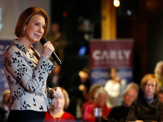 Carly Fiorina speaks during a campaign luncheon stop