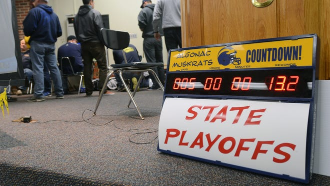 A clock ticking down the until the beginning of playoffs is displayed Sunday, Oct. 25, at Algonac High School.
