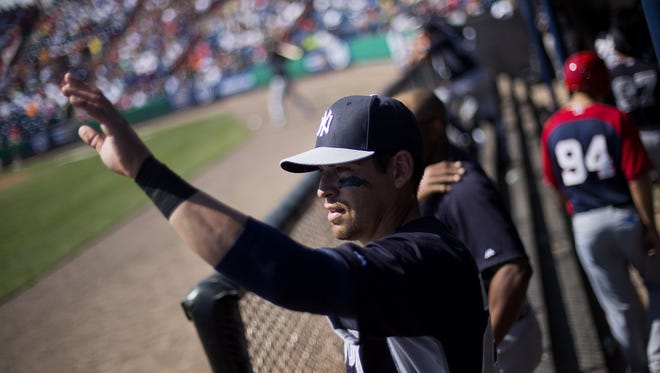 The Yankees' Jacoby Ellsbury seen in an earlier exhibition game, was scratched on Sunday due to calf tightness.