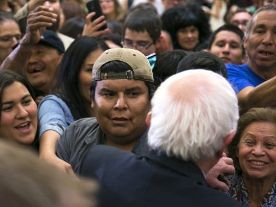 Democratic presidential candidate Bernie Sanders greets supporters at Twin Arrows Casino Resort on Thursday.