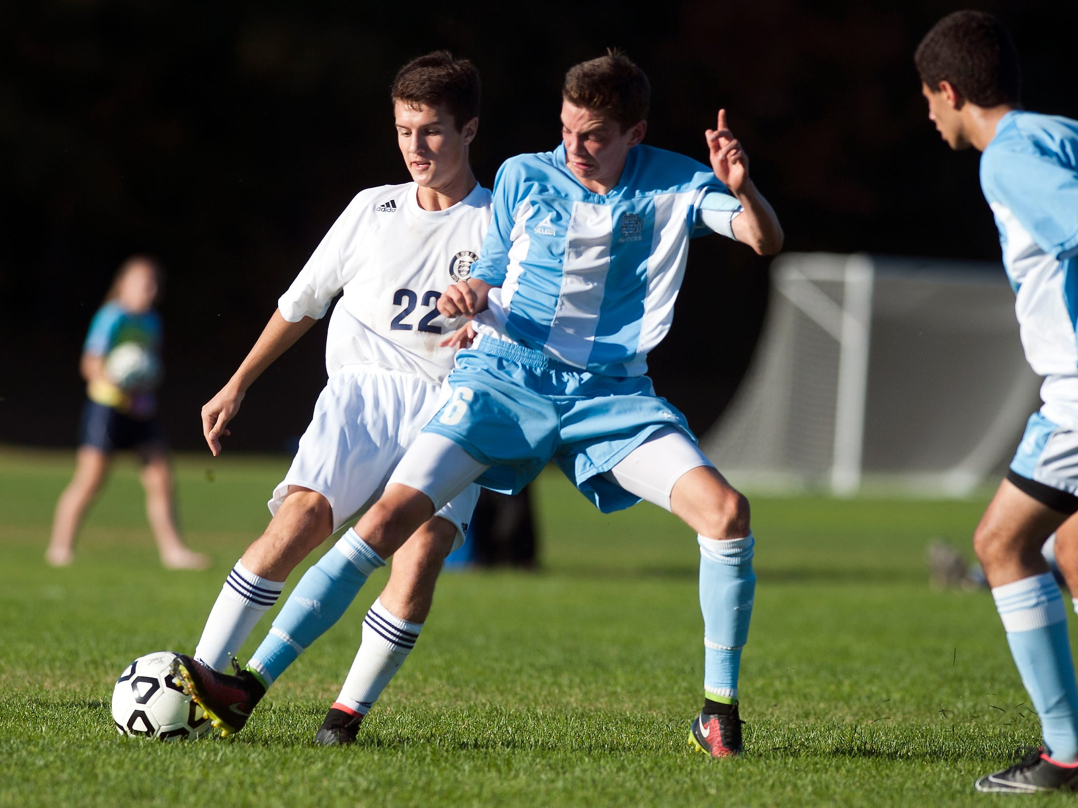 Essex's Nate Miles, left, and South Burlington's Alex Pasanen, right, will lead their teams in today's Division I high school boys soccer championship game at Buck Hard Field. Following the girls game at 10 a.m., game time is 1 p.m.