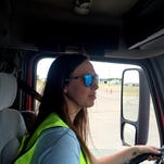 Husband-and-wife business owners and instructors Bear Gallineaux and Delphine Bird are teaching a commercial driver's license class to eight students t Great Falls College Montana State University.