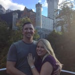 Sarah Barni and Andrew Wyatt at King Ludwig II's castle Neuschwanstein in Schwangau, Germany, where they got engaged on a Wyatt family trip.
