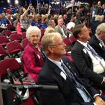 Indiana delegate Denise Pence, the sister-in-law of vice presidential nominee Mike Pence, during the Republican National Convention at Quicken Loans Arena in Cleveland.
