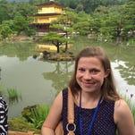 From left, Ann Glubzinski, Aaron Johnson, Sophia Lafayette, Jody Payne and Renee Gantt tried on kimonos while in Tokyo. The Michigan educators took part in the International Educators to Japan program in June.