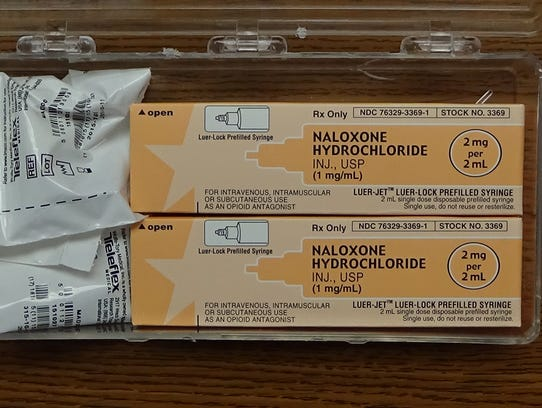 Photo of the opioid overdose kit to be used by Franklin