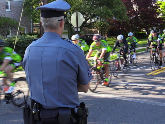 Hundreds of cyclists from around the world participate in the Gran Fondo New York 100, a 100-mile course starting in New York and winding through Rockland County up to Bear Mountain then back to New York on May 15, 2016.