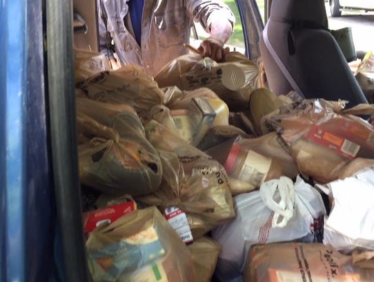 The mission received over 4,000 pounds of food.
