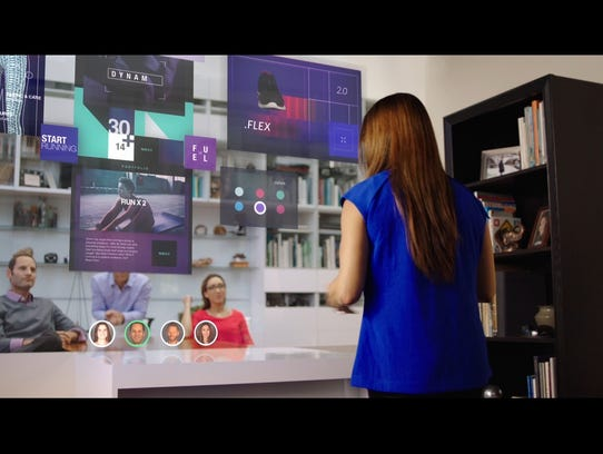 How you might work from home through a video wall.