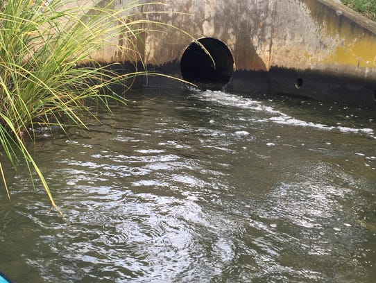 The Rehoboth Beach wastewater outfall pipe discharges