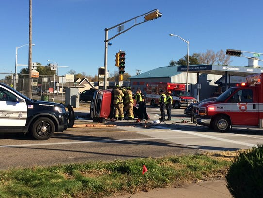 Emergency crews at the scene of a crash at Eighth Street