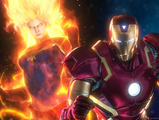 Captain Marvel, left, and Iron Man appear in 'Marvel