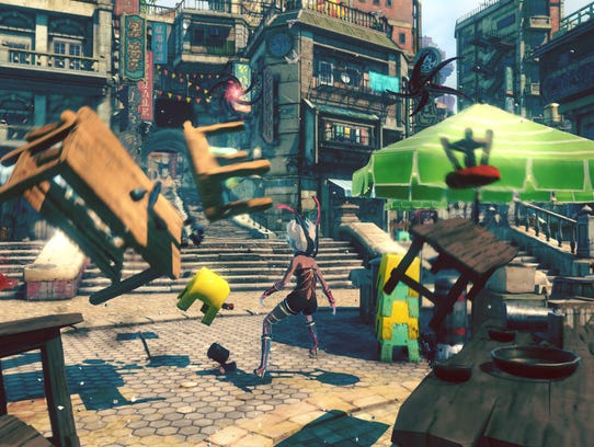 Protagonist Kat lets loose in Gravity Rush 2.
