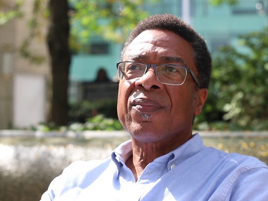 Keith McCrary, 59, of Detroit, at Campus Martius Park