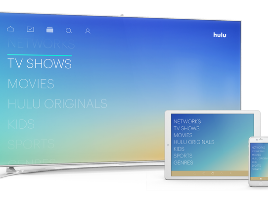 Hulu menu on TV screen and devices