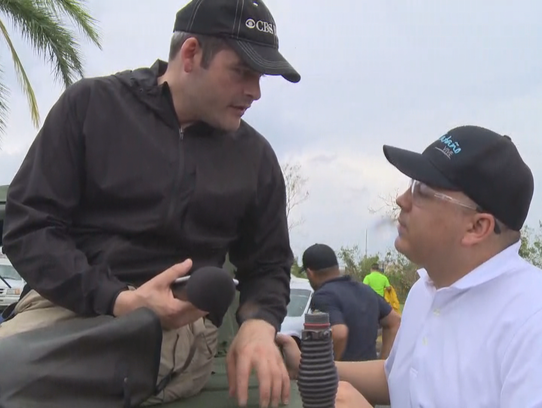 David Begnaud interviewing officials about the disaster in Puerto Rico caused by Hurricane Maria.