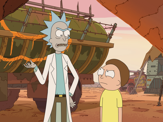 Rick Sanchez and Morty in a season three image from