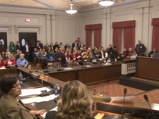 A State House meeting room was packed for an Assembly Judiciary Committee hearing on gun legislation in Trenton on Feb. 28, 2018.