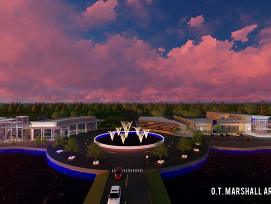 Architectural rendering of the Raleigh Civic Center.