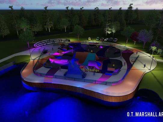 Architectural rendering of the skate park at the Raleigh