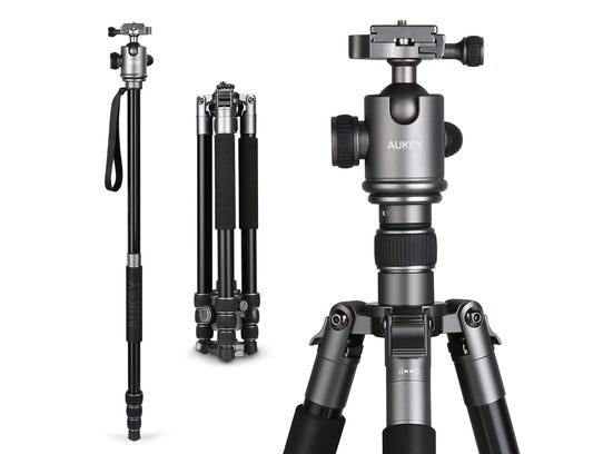 The Aukey CP-T06 travel tripod comes in multiple configurations,
