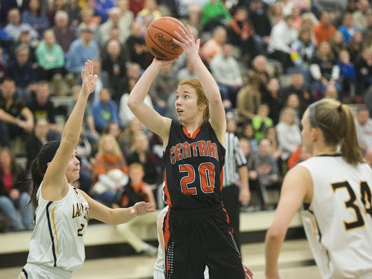 Central York's Emma Saxton shoots the ball. Red Lion defeats Central York 35-34 in the YAIAA girls' basketball championship game at York College, Friday, February 12, 2016.