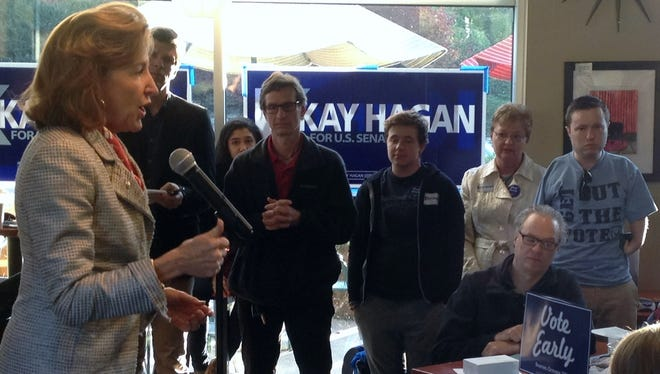 U.S. Sen. Kay Hagan speaks in a Merrimon Avenue coffee shop during her unsuccessful 2014 re-election campaign.