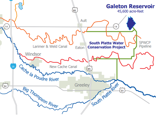 Map of Galeton Reservoir
