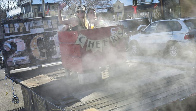 The Egg Harbor Lodge provided a unique float of revelers enjoying a hot tub during last year's parade.