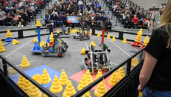 Robots similar to these are featured in the FIRST Robotics Championships set for April 25-28 in Detroit, Michigan. Two area teams are competing in the event.