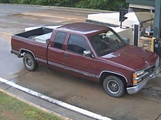 The suspect was last seen fleeing the scene in an older model maroon Chevrolet 1500 pick-up truck.