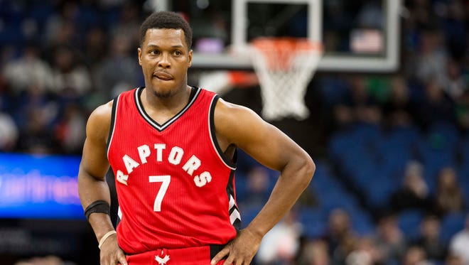 Toronto Raptors guard Kyle Lowry looks on during the first half against the Minnesota Timberwolves at Target Center. Lowry could miss extended time with a right wrist injury.