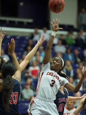 Ensworth's Jordyn Cambridge shoots over the BA defense during their game in the 2017 TSSAA Division-II Class AA Girls State Basketball Championship at Allen Arena Saturday, March 4, 2017 in Nashville, Tenn.