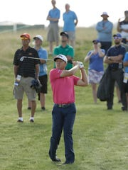 Talor Gooch hits on the seventh hole during the first round of the U.S. Open.