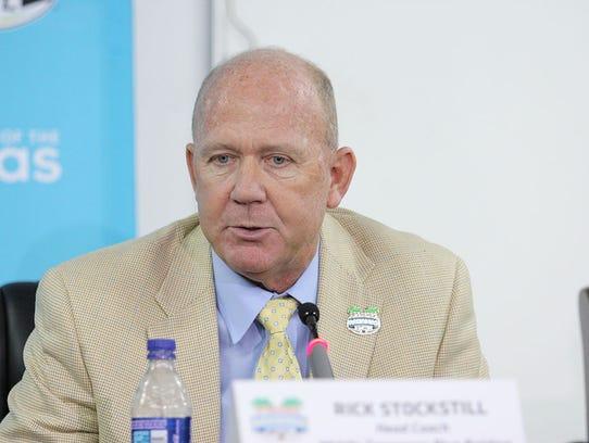 MTSU head coach Rick Stockstill speaks at a press conference