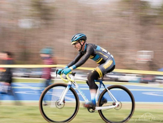 Shawn Moore, co-founder of Grava Bike Co., races on