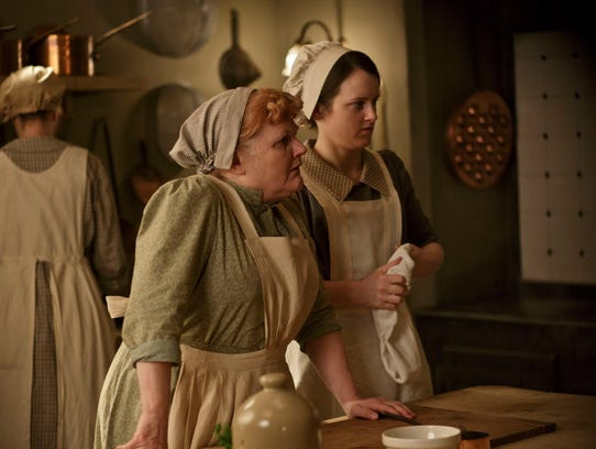 Lesley Nicol as Mrs. Patmore and Sophie McShera as