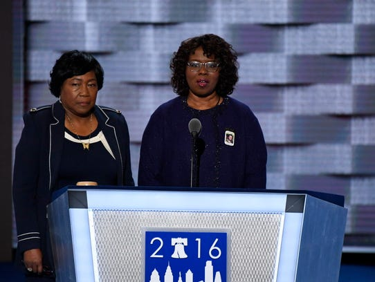 Felicia Sanders, right, speaks next to Polly Sheppard