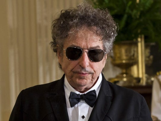 Bob Dylan in the East Room of the White House in Washington,