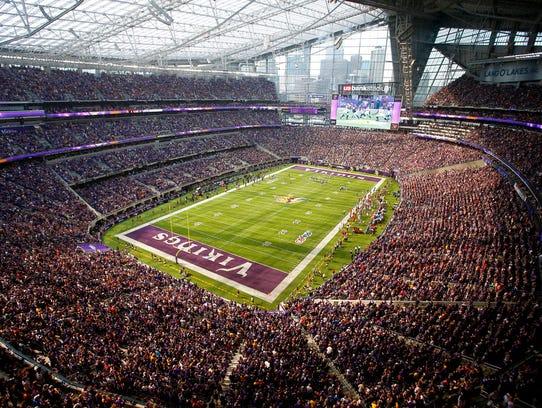 In this Nov. 2017 photo, fans cheer in U.S. Bank Stadium