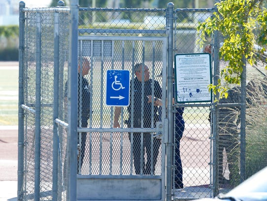 Los Angeles Police cordon off the Belmont High School