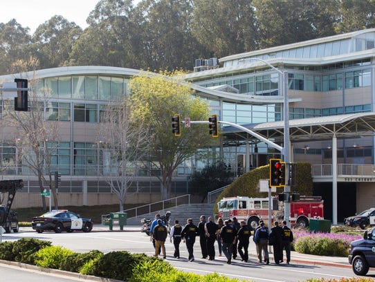 Authorities react to a shooter at the YouTube headquarters