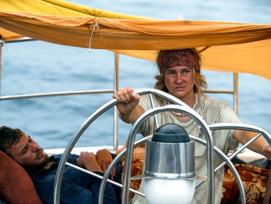 "Shailene Woodley, right, and Sam Claflin star in ""Adrift."""