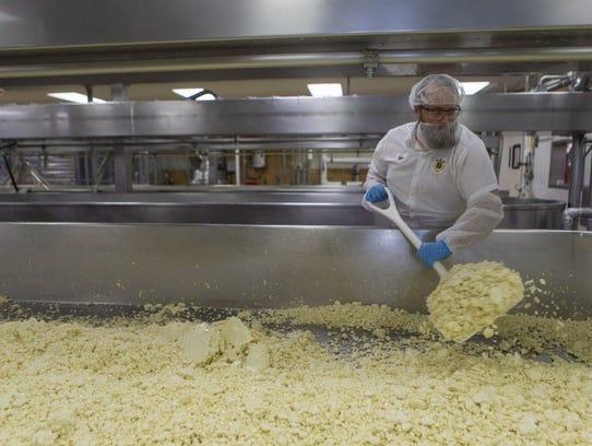 Mike Sobolik, a cheesemaker at Sartori Cheese Company